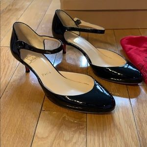 Louboutin patent leather kitten heel Mary Janes